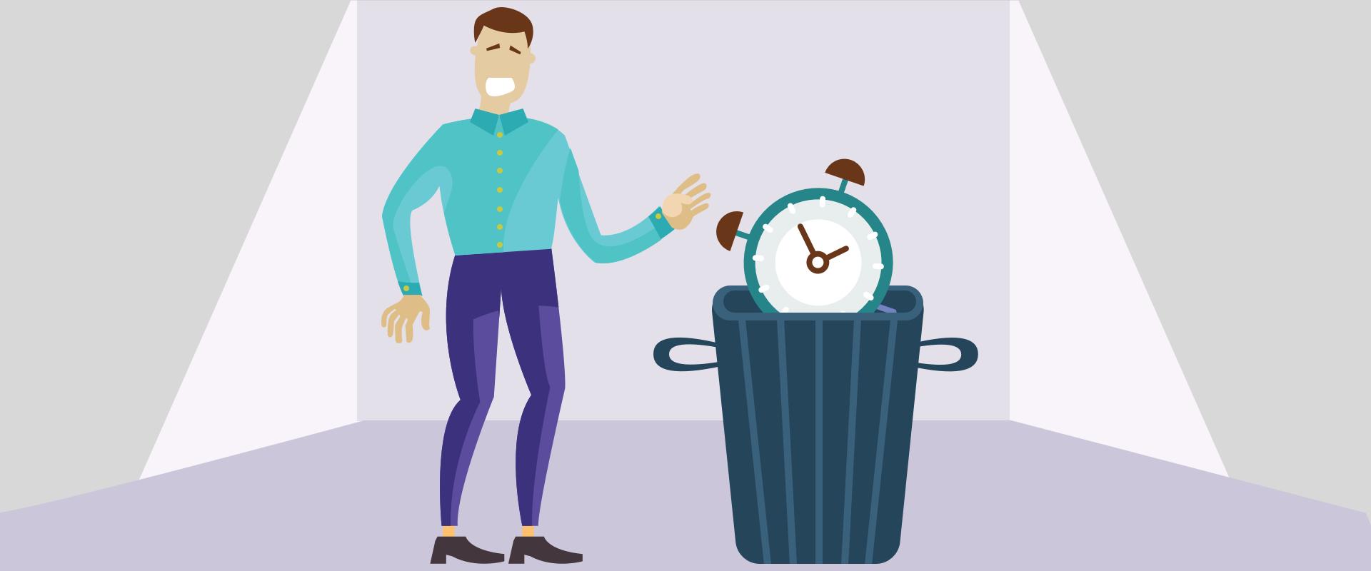 Illustration of man throwing clock in the bin representing bikeshedding.