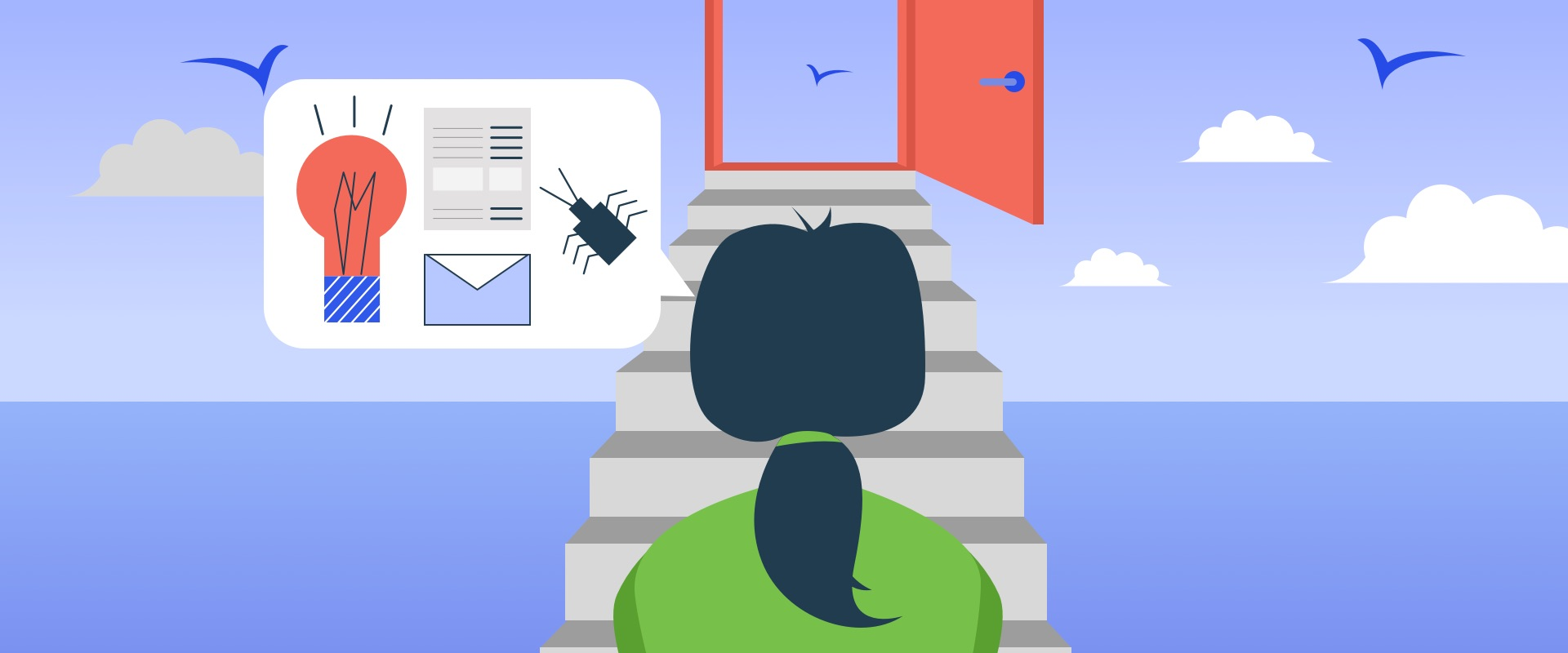Illustration of a person walking through the door of options available after doing usability testing.