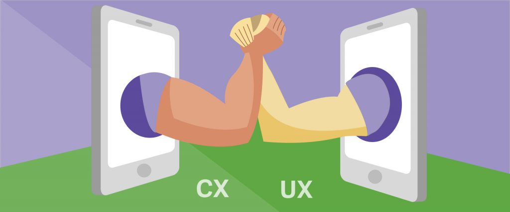 CX and UX represented using two phones with arms coming from them. The arms are holding hands.