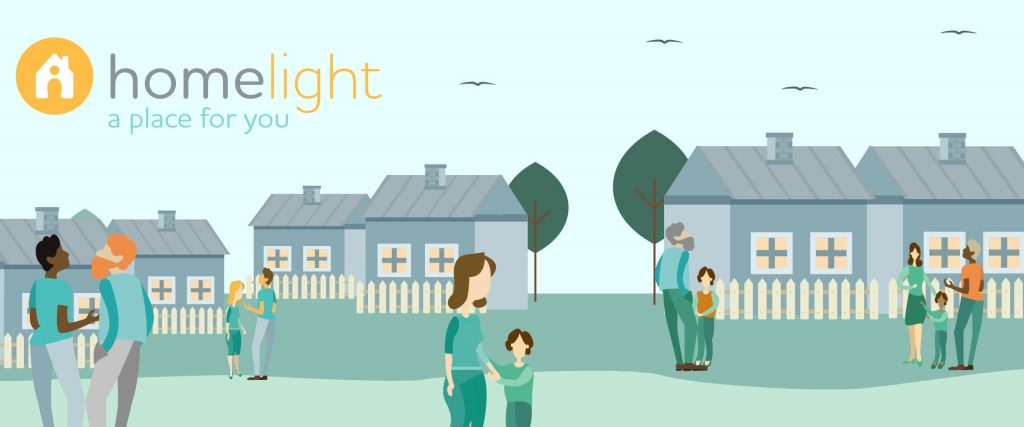 Image showing homeless families outside housing in an ideal future scenario that has solved homelessness in Ireland
