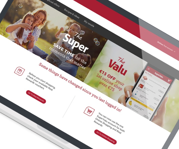 Screenshot of the SuperValu Real Rewards website