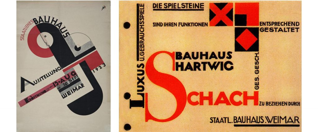 Two book covers from Ausstellung and Schach.