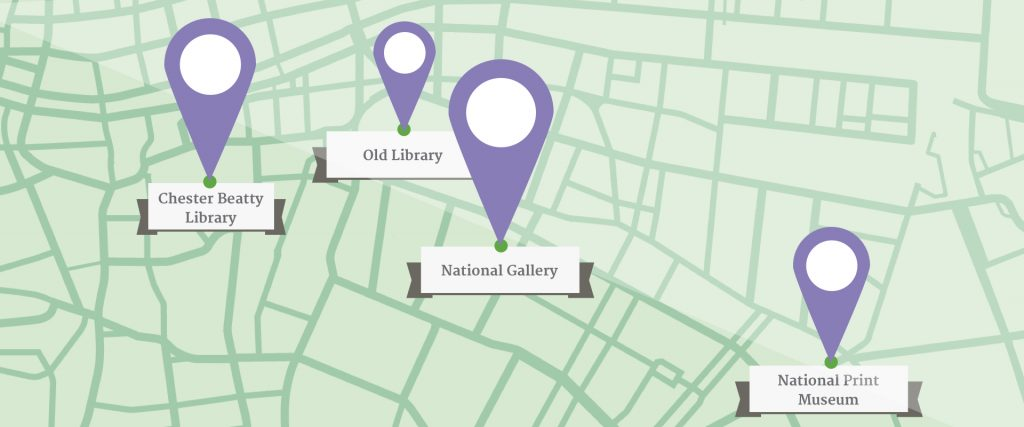 A Cartoon style map of Dublin City Center with pointers showing, Chester Beatty Library, Old Library, National Gallery and National Print Museum.
