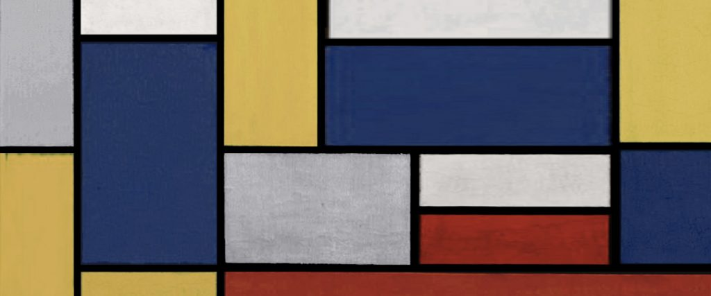a grid design image showing various squares and rectangles using blue, yellow, grey, red and white.
