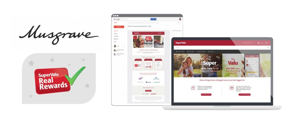 Collage of SuperValu related images including logo, loyalty card and website screenshots.