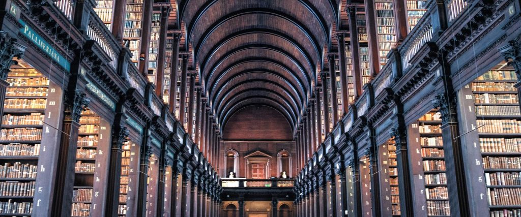 A photograph from inside Trinity Library.