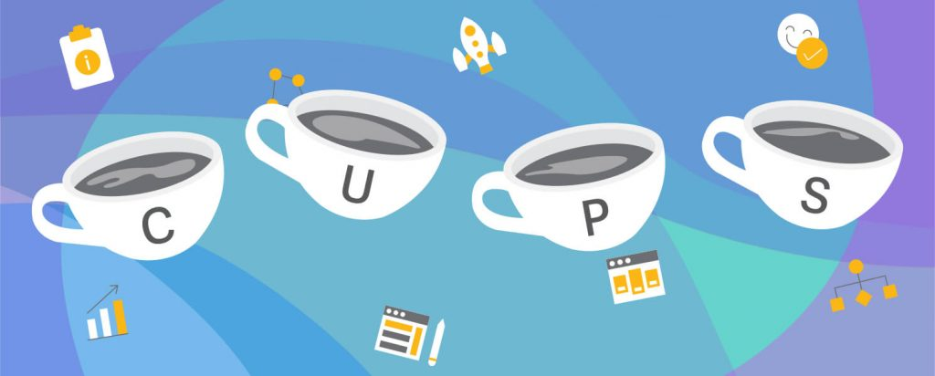 An illustration of four cups with the letters C, U, P, S inside them to represent the word CUPS.