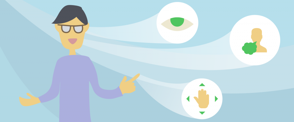 An illustration of a person with three icons linking to them. The first icon is eyes symbolising sight, the second comes from the nose symbolising smell and the third is a hand symbolising movement.
