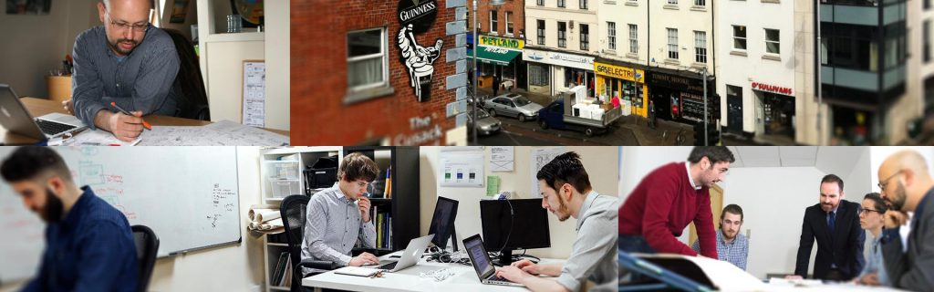 A montage of pictures showcasing the Graphic Mint team working in Camden street.