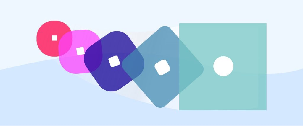 An illustrations of five different shapes in five different colours to represent going through the motions.
